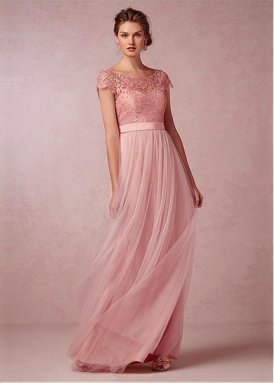 Lace Chiffon Long Bridesmaid Dress With Short Sleeve
