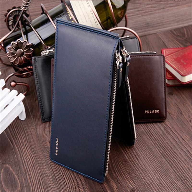 2017 Leather Men Wallet Clutch Double Zipper Credit Card Bifold ...