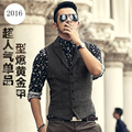 Men's brand Sleeveless Jacket Waistcoat Men Suit Vest Fashion Male British Style Slim Woolen Cotton Single breasted Vintage vest