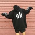 Streetwear design autumn winter outerwear Gothic letter print bat sleeves loose plus velvet pullovers hooded sweatshirt women
