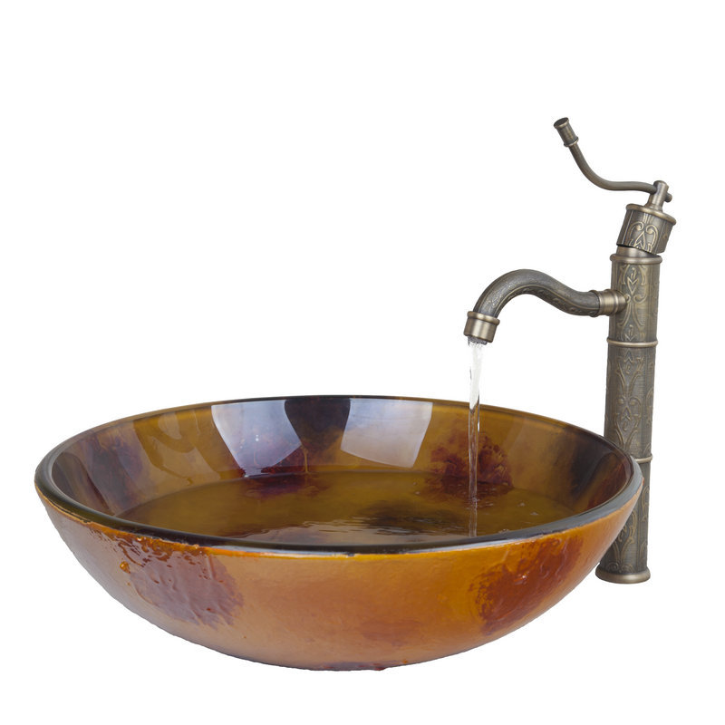 antique brass kitchen swivel faucetbathroom sinktempered glass finish vessel sink pop up drain. Interior Design Ideas. Home Design Ideas