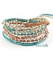 new Lotusmann style 6 colors cotton thread handmade bracelet Wrap Bracelet on Leather