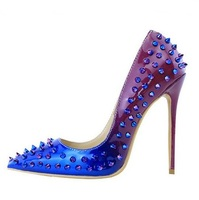 Women's Shoes Blue Gradient Color Rivets Pumps Pointed Toe 12MM High Heels Ladies Shoes Sexy Slip on Shallow Spikes Pumps