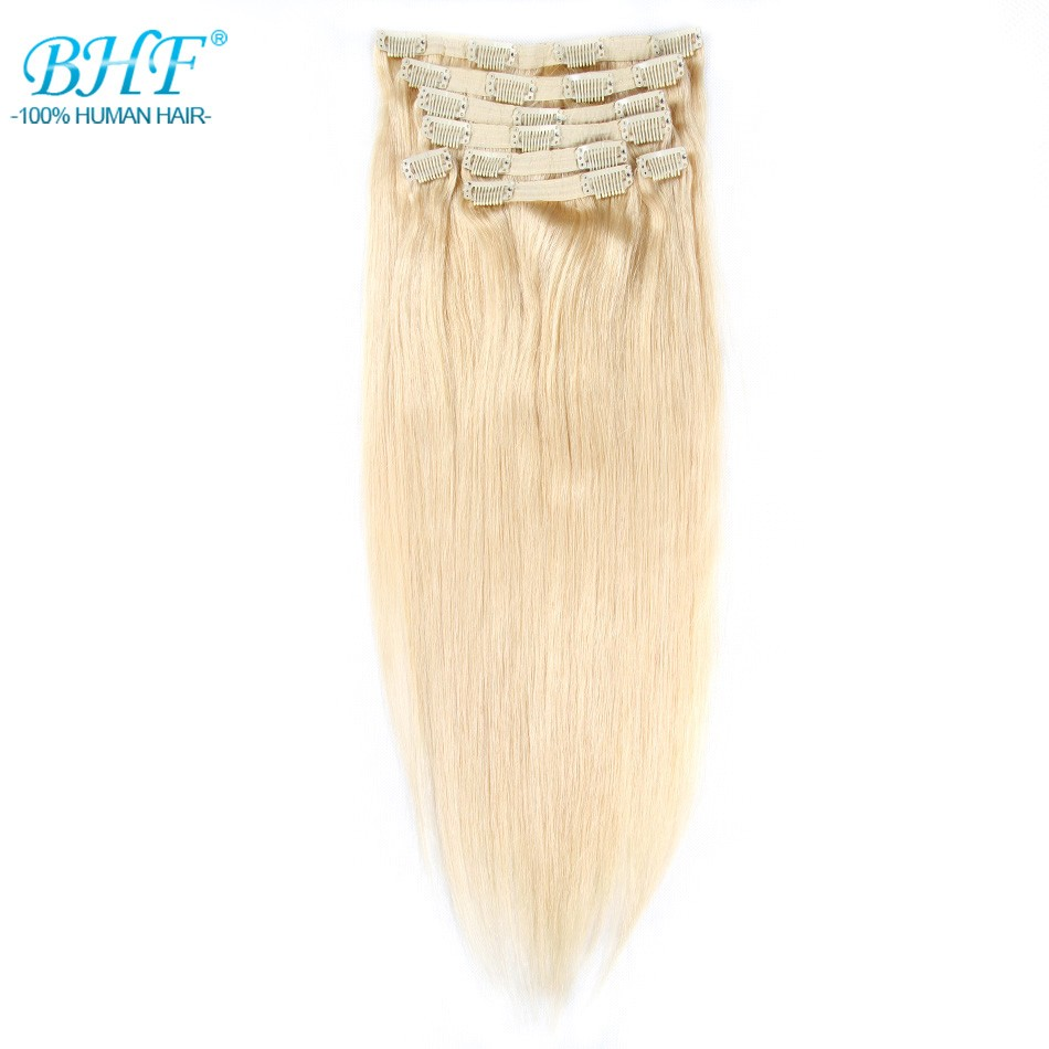 "BHF Clip In Human Hair Extensions Remy Straight Clip In Extensions 8 Pieces/set 160g 220g 20"" Free Shipping 100% Natural Hair(China)"