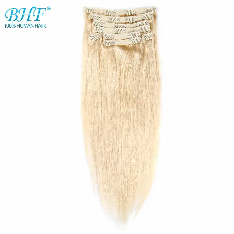 "BHF Clip in Human Hair Extensions Remy Straight Clip In Extensions 8 pieces/set 160g 220g 20"" Free shipping 100% Natural Hair"