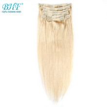 BHF Clip in Human Hair Extensions Remy Straight Clip In Extensions 8 pieces/set 120g 18″ 20″ Free shipping 100% Natural Hair