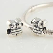 Auténtico 925 granos de la plata Pandora Charm pulsera DIY hermanas del buen encanto granos del encanto europeo mujeres joyería gota del envío