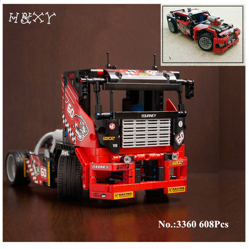 H&HXY 3360 608pcs Free shipping Race Truck Car 2 In 1 Transformable Model Building Block Sets  DIY Toys Compatible Technic 42041 provide high performance model car bearing sets kyosho triumph of free shipping