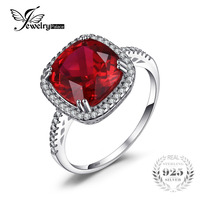6.5ct כרית JewelryPalace נוצר האדום רובי Halo טבעת אירוסין 925 כסף קסם נהדר תכשיטי חתונה לנשים