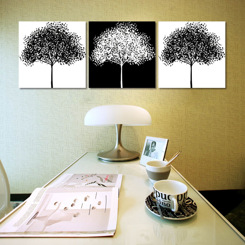 3 piece black and white tree of life photo prints Abstract modern ...