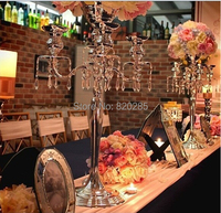 H75cm * W48cm, 5 Heads Crystal Candelabra Candle Holder wedding Centerpiece flower bowl Candle holder with pendants candelabrum