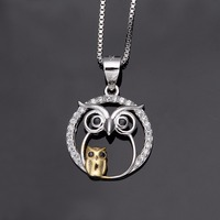 Bella 925 Sterling Silver Mother And Child Night Owl Bridal Charm Necklace Cubic Zircon Pendant Necklace