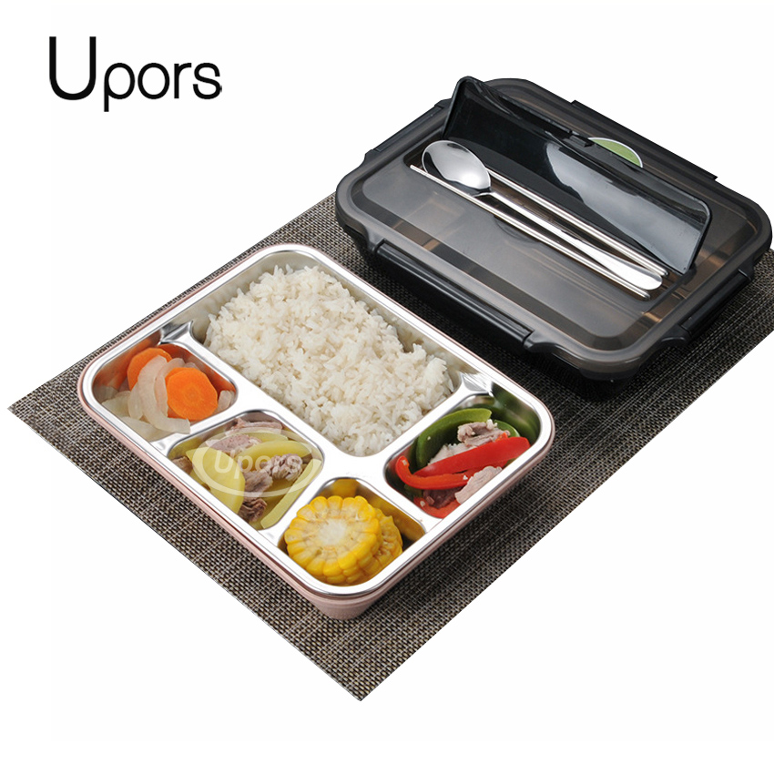 UPORS Leakproof Lunch Box Food Containers with Compartments 304 Stainless Steel Lunchbox Office School Kids Bento Box with Spoon tote bag
