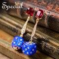 Special New Fashion Dice Stud Earrings CZ Diamond Trendy Earrings Drop Ear-piercing Jewelry Gifts for Women S1604E