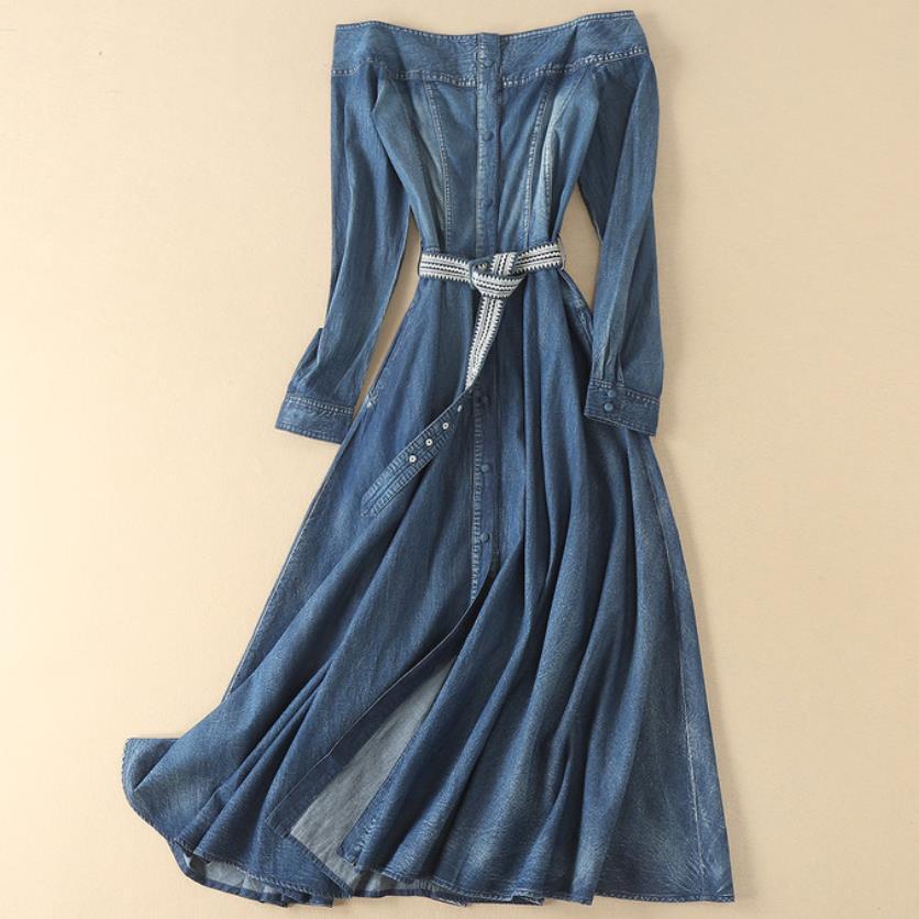 2019 printemps mode femmes fleur broderie slash cou long denim jeans robe vintage épaule dénudée robe ligne a