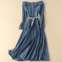 2019 spring fashion Women flower embroidery slash neck long denim jeans dress vintage off shoulder a line dress