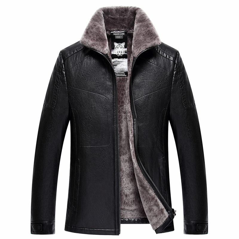 Men Fashion Leather Jacket Winter Coats Motorcycle Jackets Faux PU Leather Overcoat Fur Lining Warm Outwear