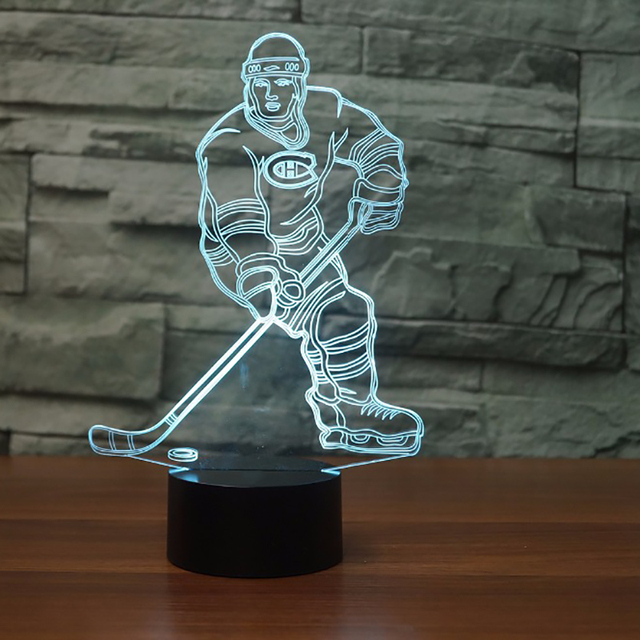 Ice Hockey Player 3D Led Lamp 7 Color Changing Acrylic Night Light For Kids Bedside Lamp Canadiens Fans Gift
