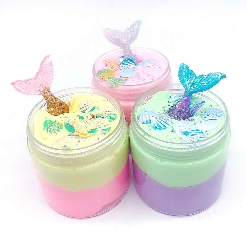 100ML New Mermaid Cotton Slime Fluffy Crystal Mud Modeling Clay Lizun Handgum Anti-stress Toy Putty For Kids Jumbo Slime Toy