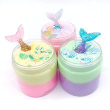 100ML New Mermaid Cotton Slime Fluffy Crystal Mud Modeling Clay Lizun Handgum Anti-stress Toy Putty For Kids Jumbo Slime Toy(China)