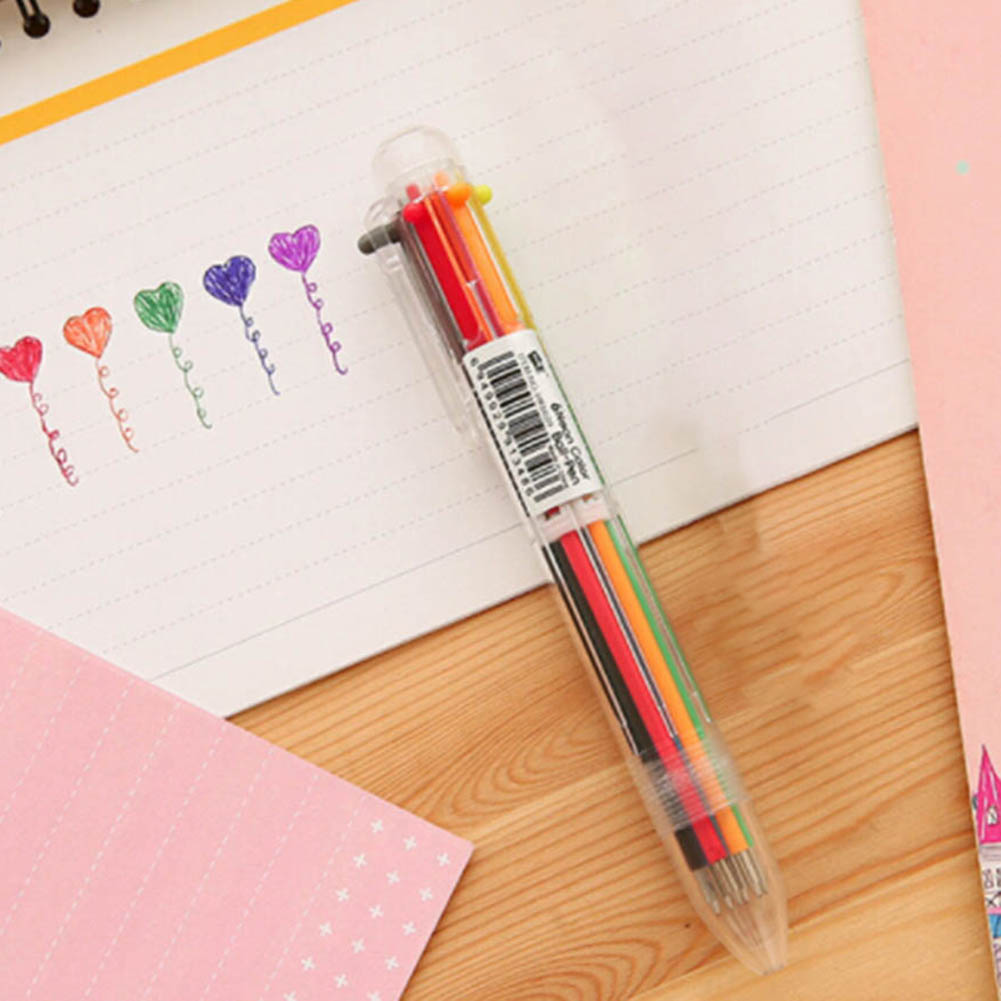 2018 Creative Novelty Multicolor Ballpoint Pen Multifunction 6 Colors Stationery School Supplies