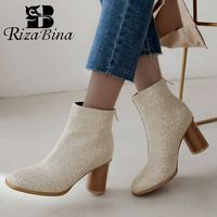 RIZABINA Winter Ankle Boots Women Plus Size 32 48 2020 New Fashion Bling Fabric Casual Zipper Square Heel Shoes Women Warm Fur