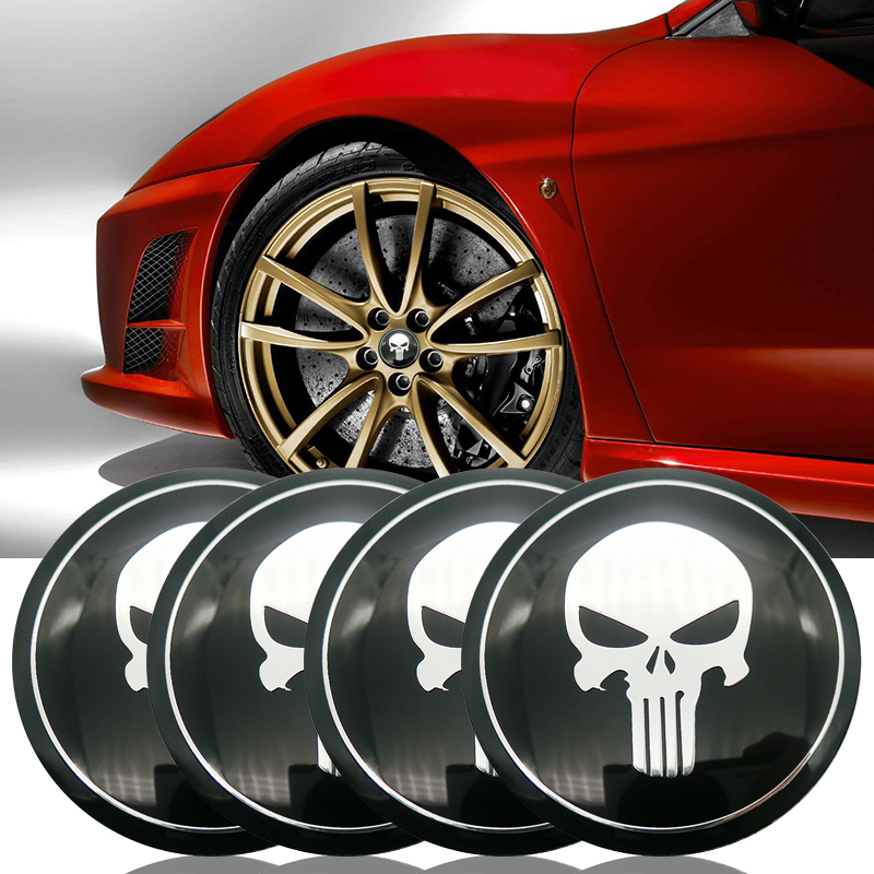 4pcs Funny Skull Hero Car Wheel Center Hub Caps Cover Rim Sticker Emblem Badge Styling For BMW AUDI VW FORD HONDA KIA JEEP OPEL car styling wheel center hub caps wheel sticker emblem for cross logo for corvette mazda 3 silverado dodge ram vw golf clio benz