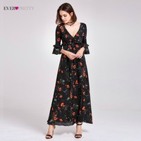 Ever Pretty Brand Beach Style Evening Dresses With Sleeves Ankle Length V Neck Floral Print Casual