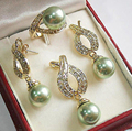 Natural 12mm Green Shell Pearl Pendant Necklace Earrings Ring Sets shipping free