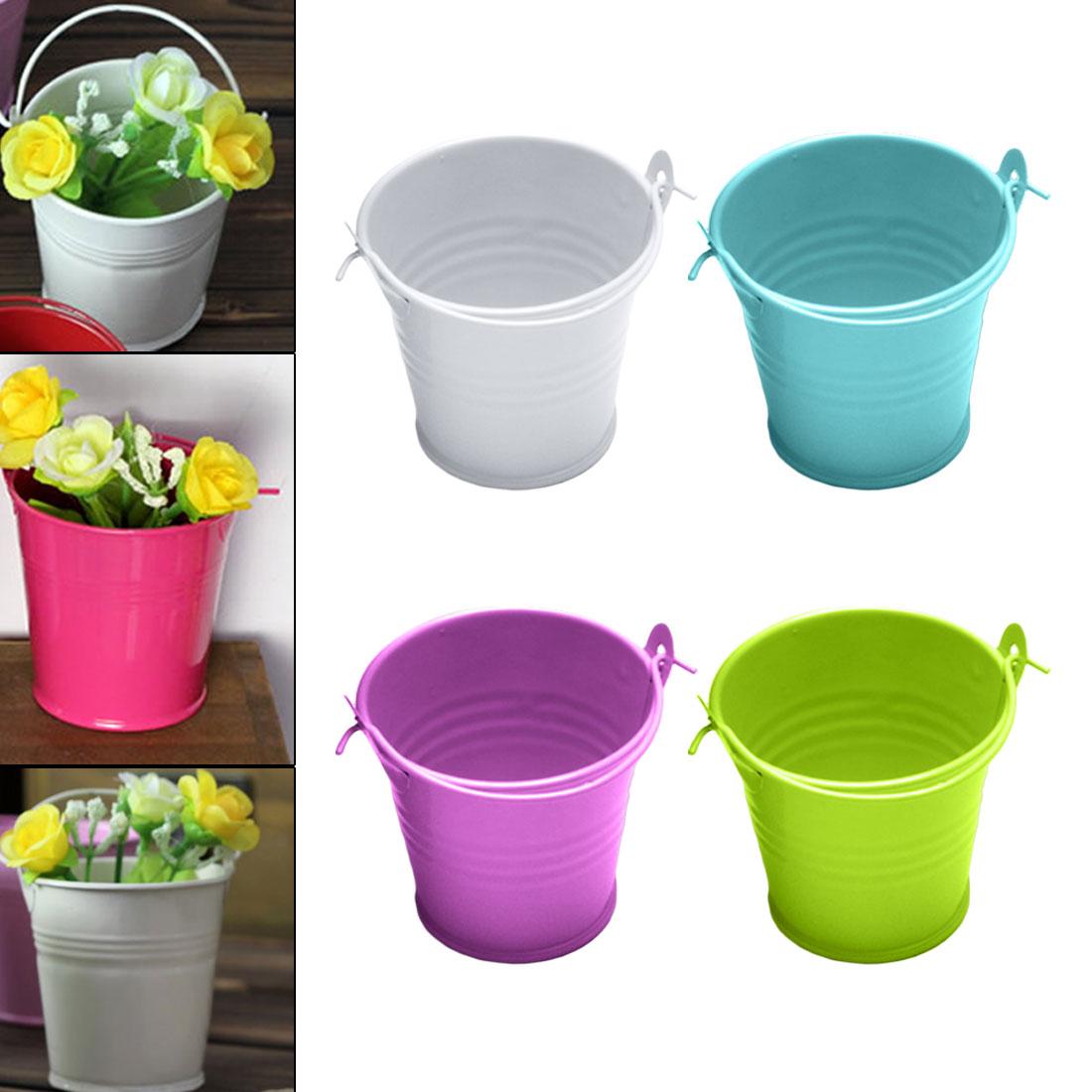 Mini Flower Pot Metal Barrel Plant Succulent Plant Flowerpot Wall Vertical Hanging Bucket Iron Holder Basket