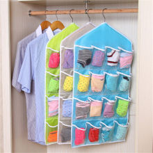 Rack Storage Closet Wardrobe Hanging Shelf Organizer 16-Pockets for Clothes Sock  Organizers