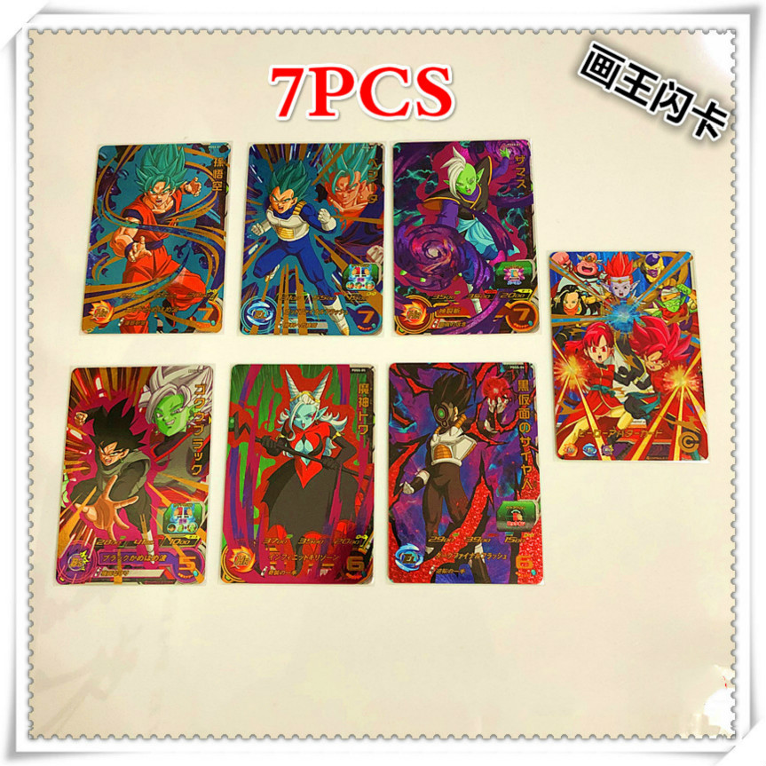 7psc/set Japan Original Dragon Ball Hero Card PDSS Goku Toys Hobbies Collectibles Game Collection Anime Cards
