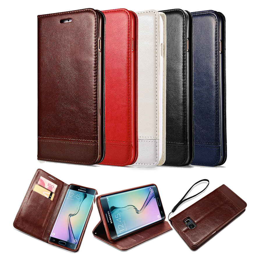 Vintage Wallet Pu Leather Case For Samsung Galaxy S6 Edge Plus With Stand And Card Holder Phone Bag Luxury Flip Cover Cases Rose