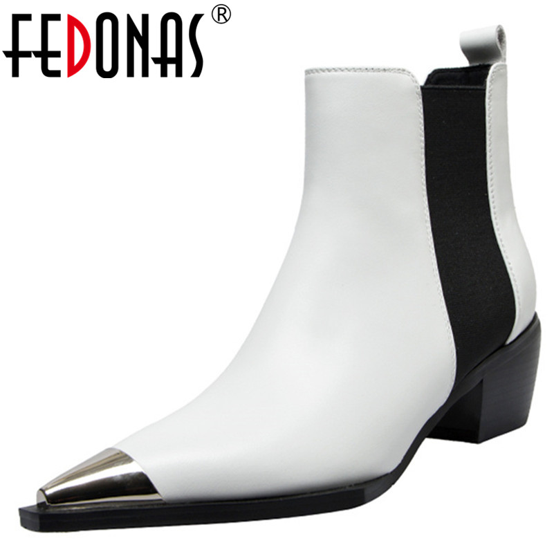 FEDONAS 2019 Spring Autumn New Fashion Punk Pointed Toe Square Heels Women Ankle Boots Classic Slip on Chelsea Boots Party Shoes