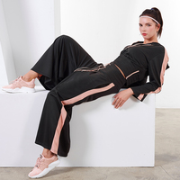 Autumn Winter Sports Suits Women's Gym Clothes Yoga Set Loose Sexy Exposed Navel Dance Clothing Sportswear 2pcs