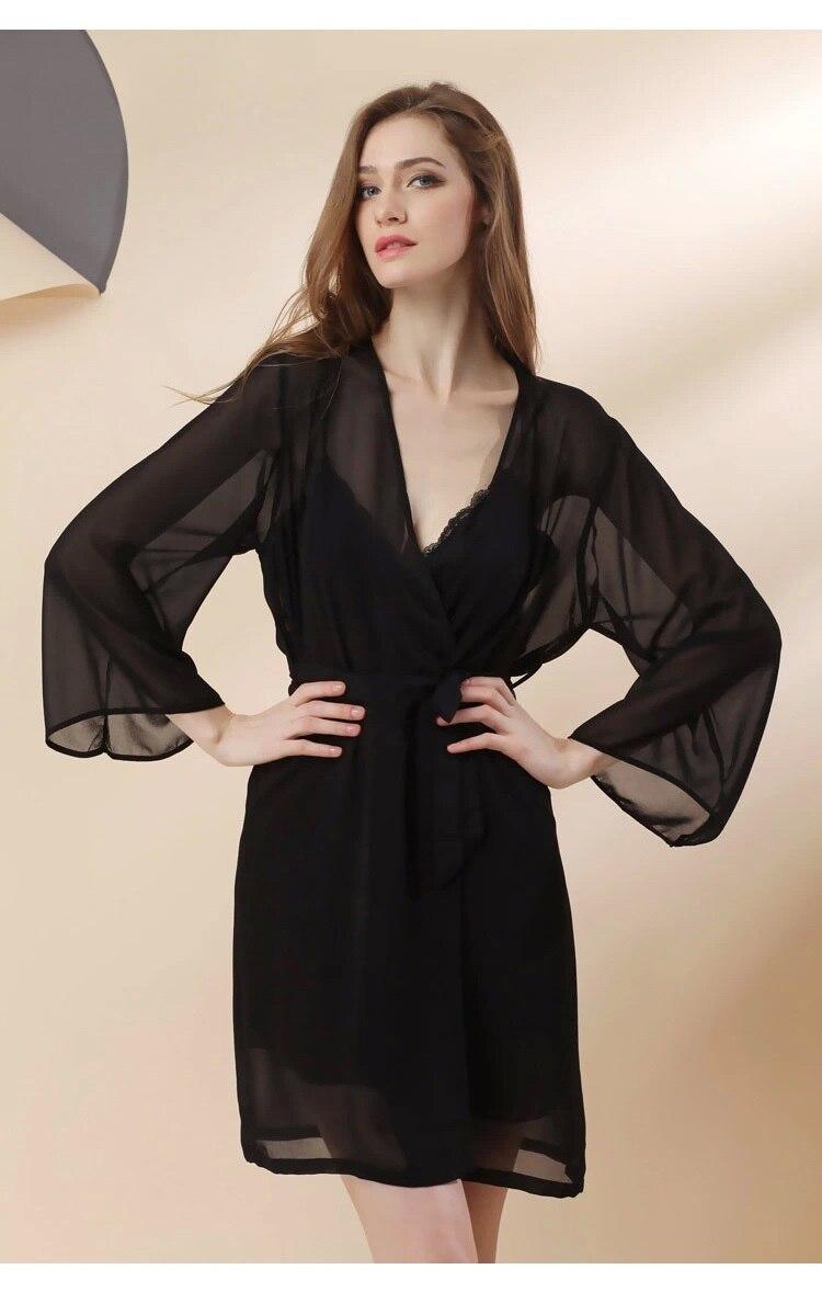 black silklike sexy lingerie robes set 3