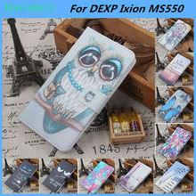 Hot! Cartoon Pattern PU Leather Cover Case Flip Card Holder Cover For DEXP Ixion MS550 Wallet Phone Cases