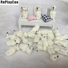 100PCS/LOT Joint Ted Bear Plush Toy 3.5cm Animal Stuffed White Doll Teddy Bears with Bow Plush Pendant Kids Toys Wedding Gifts 20pcs lot kawaii small joint teddy bears stuffed plush 6cm toy teddy bear mini bear ted bears plush toys wedding gifts 010