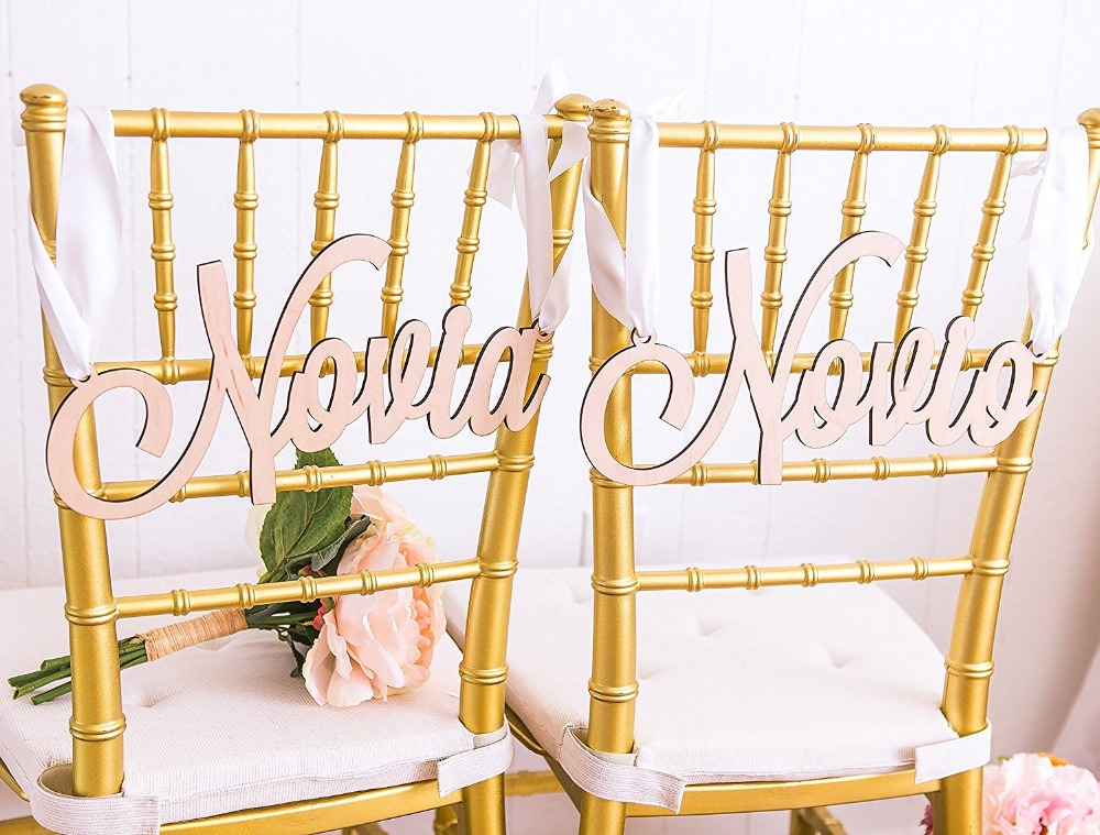 Novia and Novio Chair Signs for Wedding, Hanging Chair Signs Wooden Wedding Signs Bride & Groom Spanish Wedding Sgns