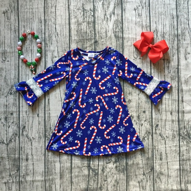 9076c49cd050 new Christmas Fall winter navy candy cane snowflake milk silk dress ...
