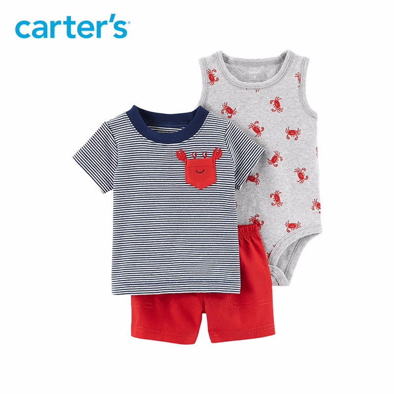 3pcs clothing sets crab tank-top bodysuit striped pocket tee shorts Carter's baby boy soft cotton Spring Summer 121I149 zaful new cami wrap top with striped shorts tied slip top women crop summer beach stripe top high waisted shorts