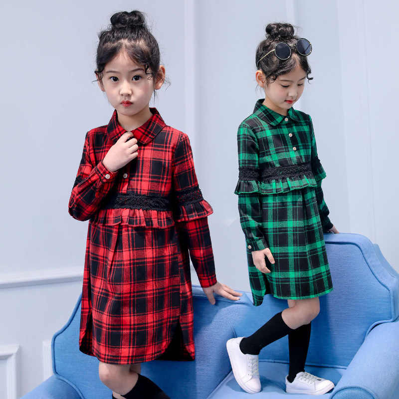 59b13859c 5-14T New Lace Kids Clothes Plaid Shirts For Girls Long Sleeve Cotton  Blouses Autumn