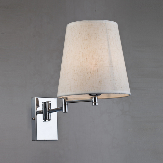 Nordic Adjustable Wall Mounted Lamp E27 Bulb Modern Fabric Lampshade Swing Arm Reading Bedside Lamp Bedroom Wall Light WL267