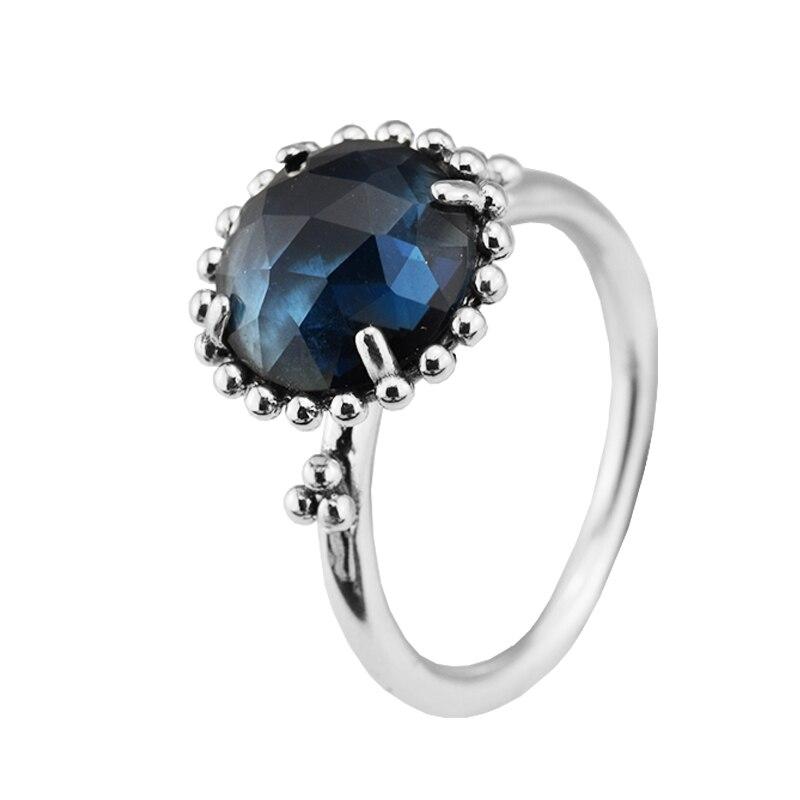 1f4fef6854e3 Anillo de plata con cristal azul de medianoche compatible con joyería  Europea 100% 925 slilver Anillos para las mujeres