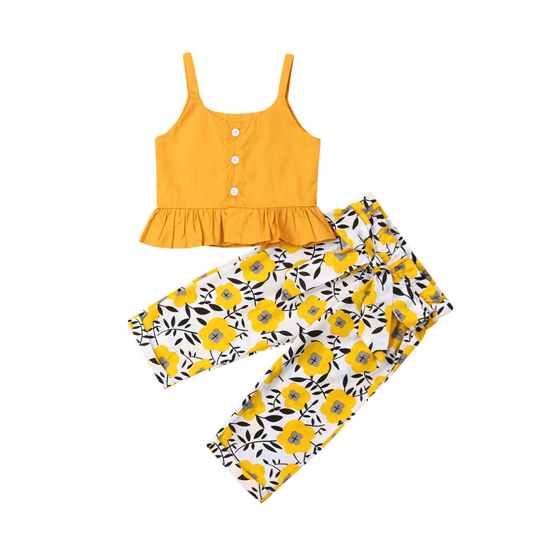 2019 Summer Kids Baby Girl Clothes Vest Floral Pants Summer Sets Holiday Girl Outfits Ruffles Sling Crop Tops Long Pants 6M-4Y