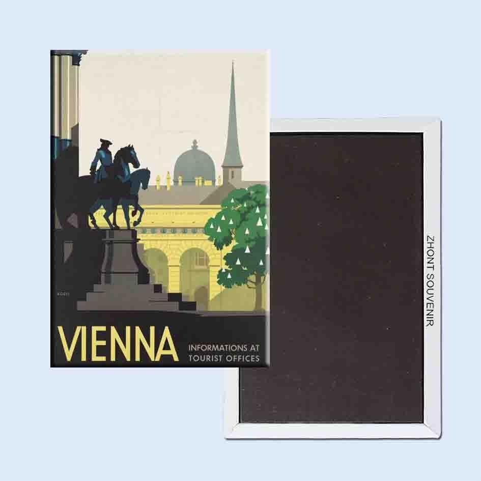 Vídeň Rakousko Plakát 24098 Retro nostalgické magnety na chladničku