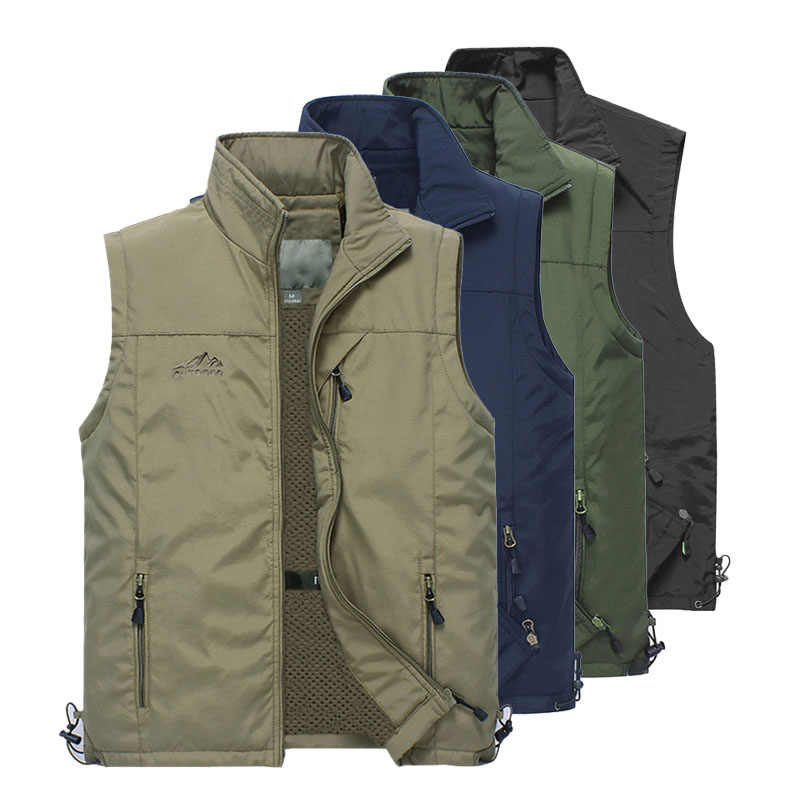 Летние сетчатые тонкие жилет с карманами для мужчин плюс размеры 4XL мужской повседневное 6 цветов куртка без рукавов с много карманов репортёр