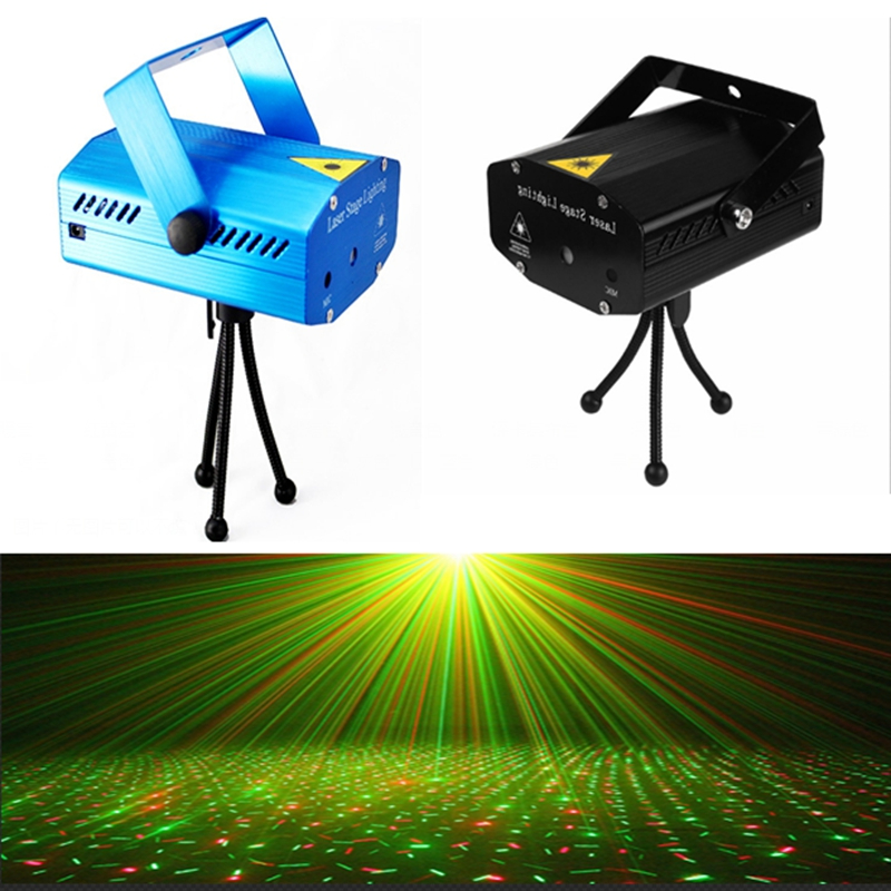 Black Blue Mini LED Laser Pointer DJ Disco Stage Light Christmas Party Pattern Lighting Projector Show +Tripod Stand+User Manual kx dm11 projector dj disco light mp3 remote stage laser lighting show party christmas black