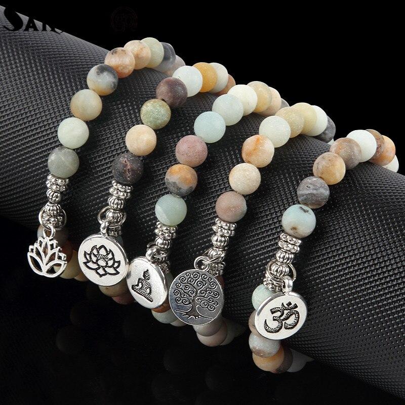 New Natural Stone 8mm Amazon Stone Yoga Energy Bracelet Lotus Flower Buddha Head Charms Bracelet For Woman Man Fashion Jewelry