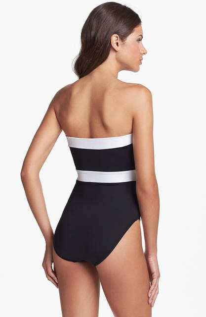 c7dea8a3b83 New one piece swimsuit strapless black white push up bra padded bodysuit  high waist swimwear bathing suit summer style S5703